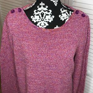 Loft Tweed Sweater Button Detail XL